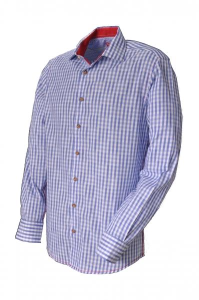 Trachtenhemd Burgthann hellblau Karo Slim Fit Langarm OS Trachten