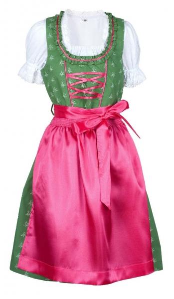 Kinderdirndl Huisheim dunkelgrün/pink Trachtenset 3-tlg.