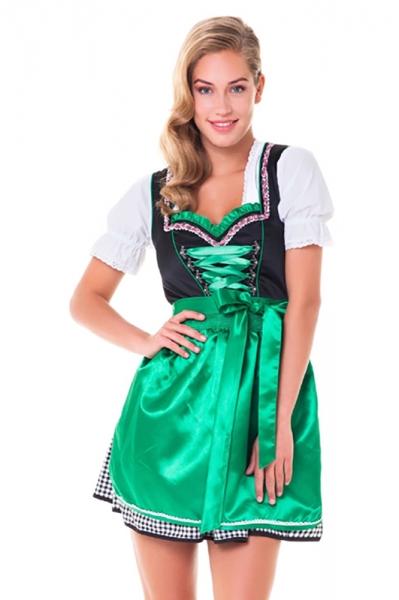 Dirndl mini 50 cm Daniela schwarz/grün Trachtenset 3-tlg.