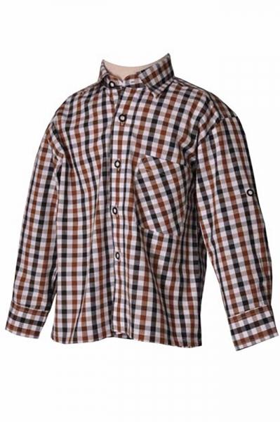 Kinder Trachtenhemd Benni braun/schwarz Isar Trachten