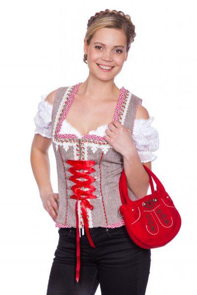 Mieder Countrygirl braun/rot Krüger