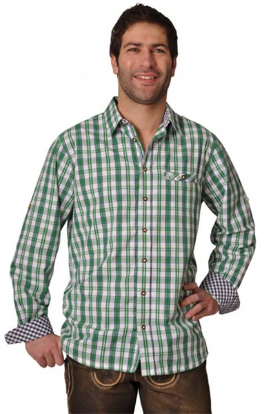 Trachtenhemd Gideon gras/navy Lekra