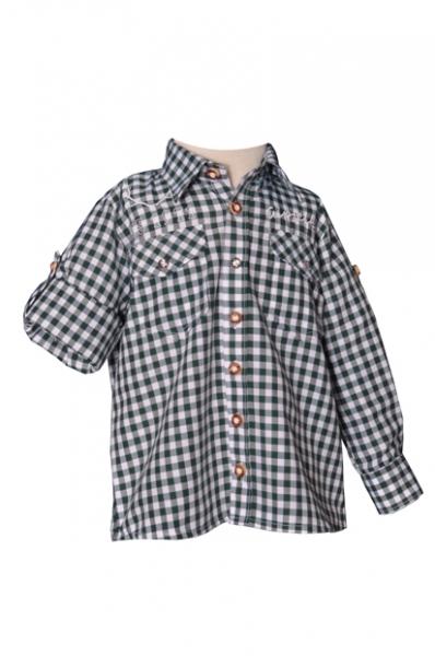 Kinder Trachtenhemd Gipfelbua Langarm dunkelgrün Karo Krempelarm v. OS-Trachten