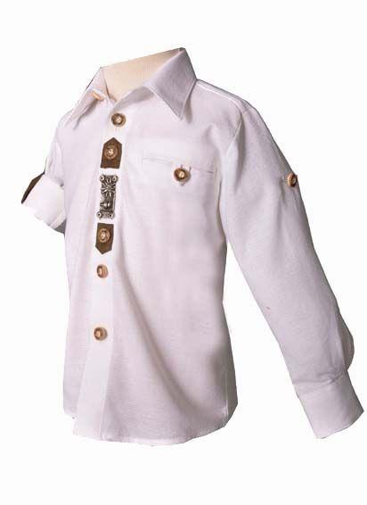Kinder Trachtenhemd Lennart weiß Krempelarm OS-Trachten