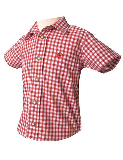 Kinder Trachtenhemd Ronny rot kurzarm OS-Trachten