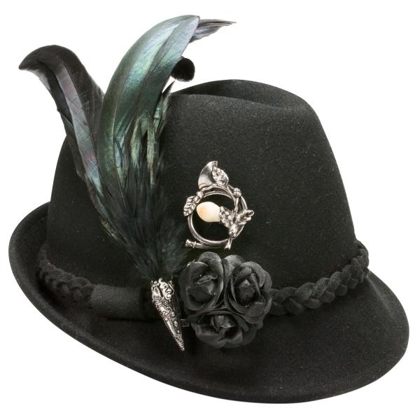 Trachtenhut Trachten Hut mit Feder Riekofen schwarz