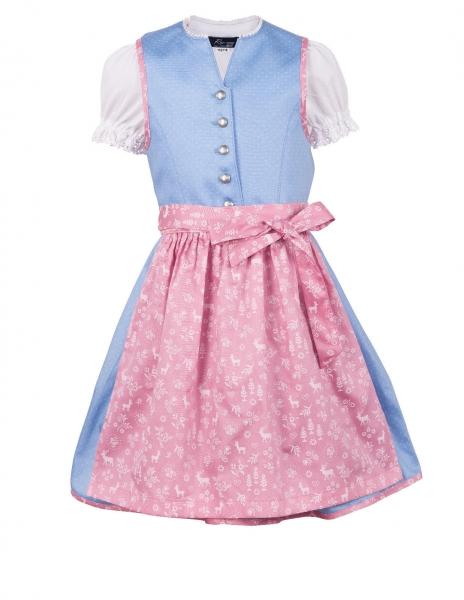 Kinderdirndl Schwabhausen blau rosa Trachtenset 3-tlg.