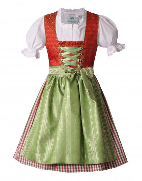 Kinderdirndl Jugenddirndl Georgenberg rot grün 3-tlg. Trachtenset Isar-Trachten