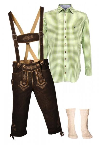 Trachtenlederhosen-Set 4-tlg. Kniebund urig antik von Stockerpoint mit hellgrünem Hemd von OS Tracht