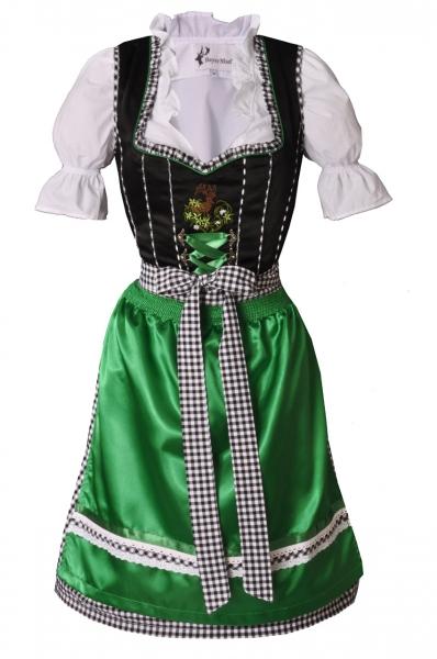 Dirndl midi 60 cm Vera schwarz/grün Trachtenset 3-tlg. Bayer Madl