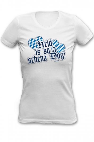 Trachtenshirt Heid is so a schena Dog weiss