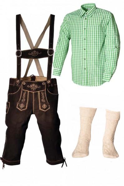 Trachtenlederhosen-Set 4-tlg. Kniebund dunkelbraun mit grünem Hemd von Fuchs