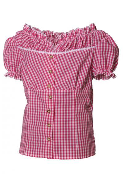 Trachtenbluse Tabea pink/weiß Karo Kurzarm Isar Trachten Fräulein Prachtvoll