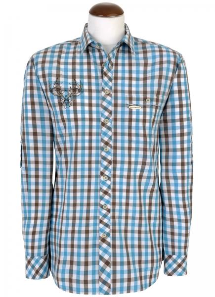 Trachtenhemd Daniel türkis/braun Langarm Slim Fit Spieth & Wensky