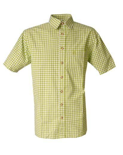 Trachtenhemd Alfons Kurzarm giftgrün Karo OS Trachten