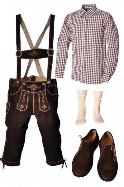 Trachtenlederhosen-Set 5-tlg. Kniebund dunkelbraun mit braunem Hemd und Schuhen von Fuchs