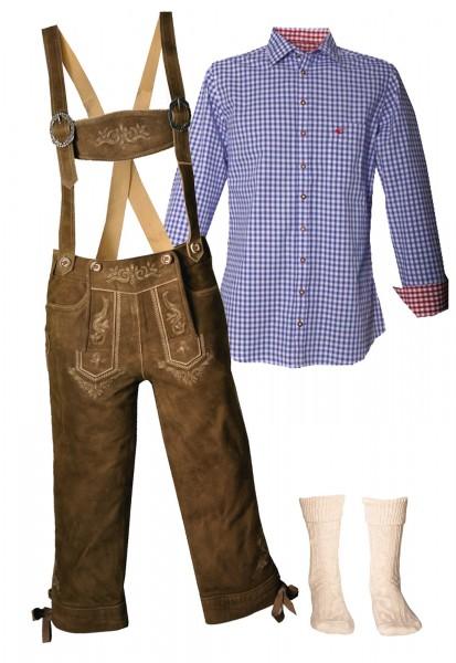 Trachtenlederhosen-Set 4-tlg. Kniebund torf antik von Stockerpoint mit blauem Hemd von OS Trachten