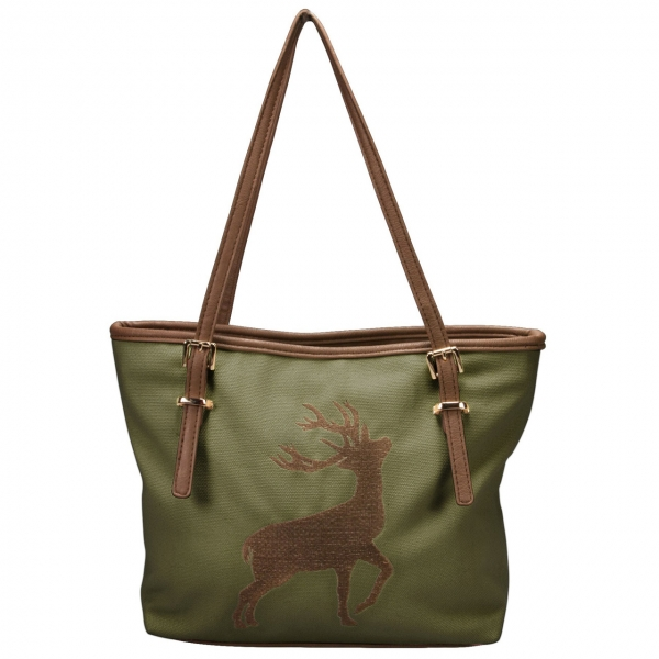 Trachten Handtasche Shopper Hirschstickerei grün