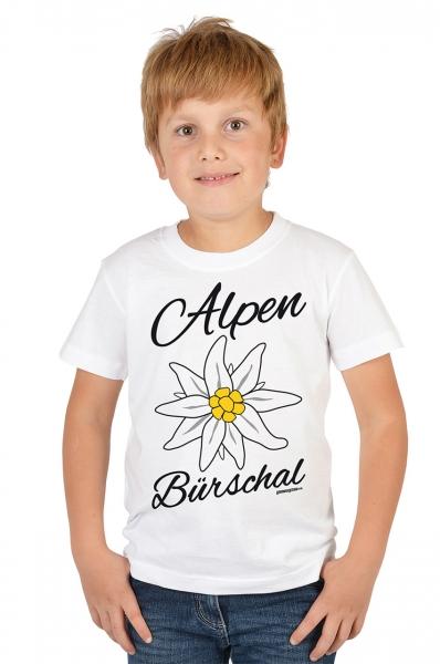 Trachten T-shirt Alpen Bürschal weiß