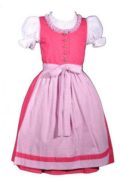 Kinderdirndl Fanny pink/weiß Trachtenset 3 tlg. Isar Trachten