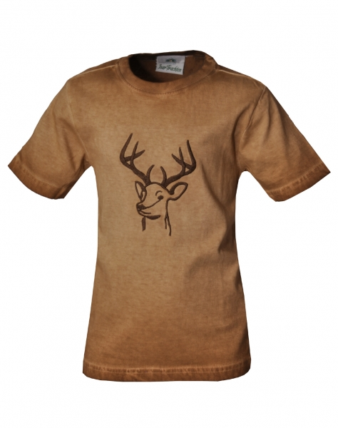 Kinder Trachten T-Shirt Hummeltal braun Isar Trachten Trachtenshirt