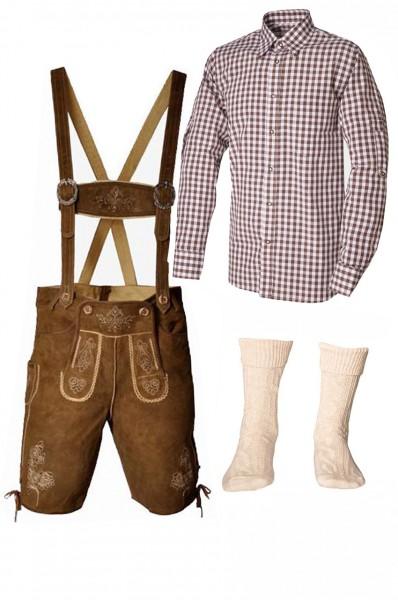 Trachtenlederhosen-Set 4-tlg. kurz hellbraun mit braunem Hemd von Fuchs