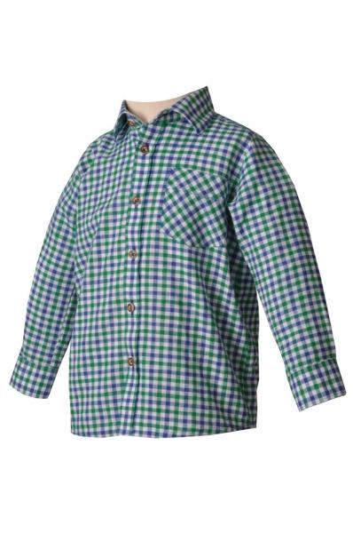 Kinder Trachtenhemd Durach tannengrün/blau OS Trachten