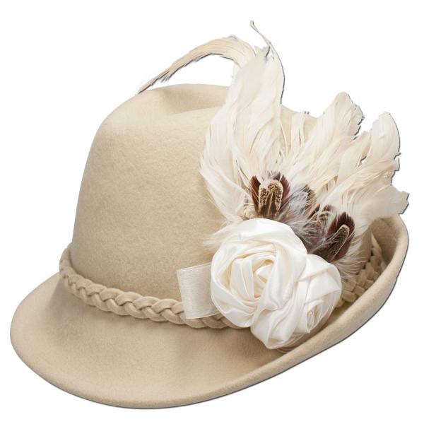 Trachtenhut Hut Trachten Runding wollweiß