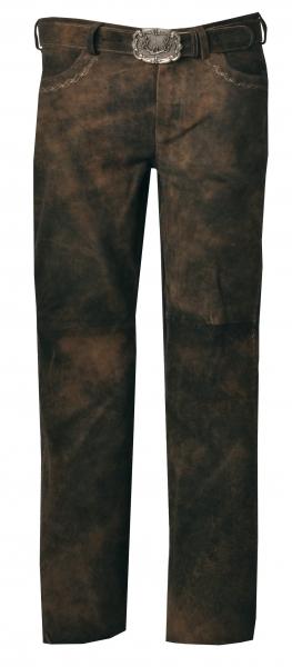 Lederhose lang Rocco 3 bison braun mit Gürtel Stockerpoint
