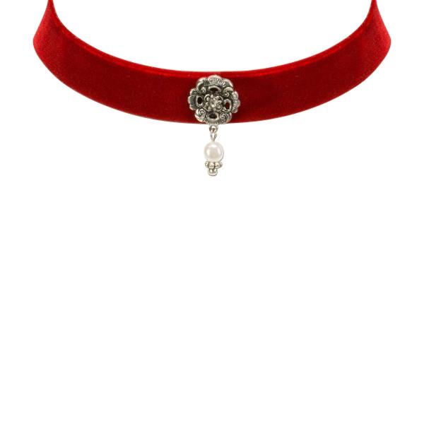Trachten-Kropfband Samt Rödelsee rot Alpenflüstern