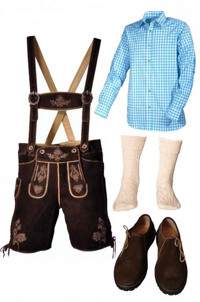 Trachtenlederhosen-Set 5-tlg. kurz dunkelbraun mit türkisem Hemd und Schuhen von Fuchs