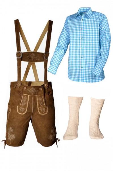 Trachtenlederhosen-Set 4-tlg. kurz hellbraun mit türkisem Hemd von Fuchs