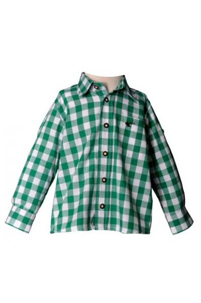 Kinder Trachtenhemd Dominik grün Krempelarm OS-Trachten