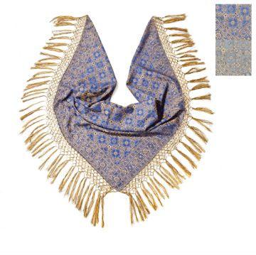 Trachtentuch Fransentuch Jaquard royalblau/gold mit Seide