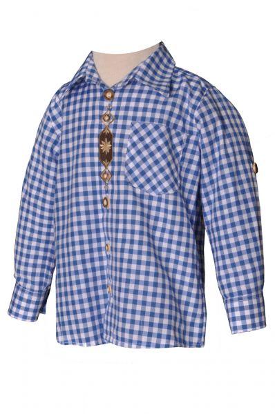 Kinder Trachtenhemd Fabio blau langarm OS-Trachten