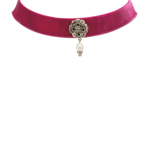 Trachten-Kropfband Samt Rödelsee pink