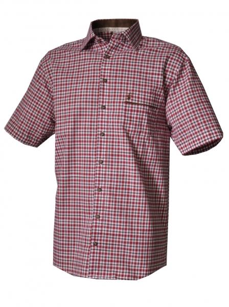 Trachtenhemd Burgheim rot/grün Karo Kurzarm OS Trachten