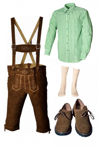 Trachtenlederhosen-Set 5-tlg. Kniebund hellbraun mit grünem Hemd und Schuhen von Fuchs