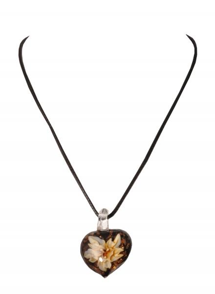 Dirndlkette Trachtenkette Treffelstein herzförmig Kunstglas braun