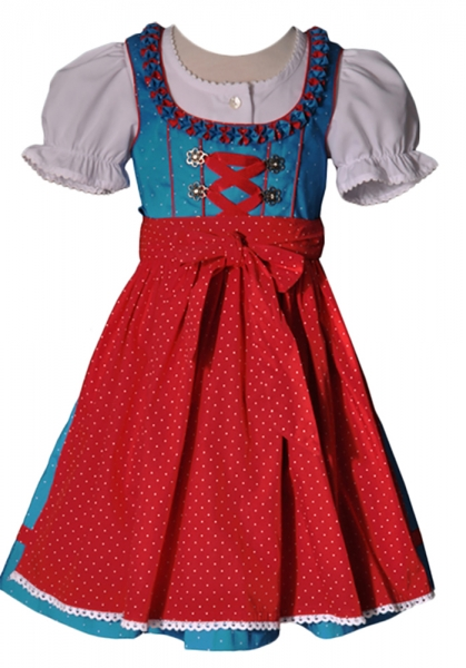 Kinderdirndl Juliana türkis/rot 3-tlg. Set Lekra