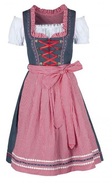 Dirndl midi 60 cm Angela jeansblau/rot Trachtenset 3-tlg. Bayer Madl