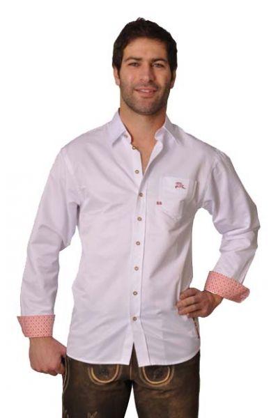 Trachtenhemd Tobias Hemd Weiss Slim Fit OS-Trachten
