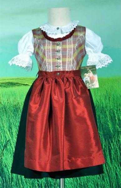 Kinderdirndl Sissi rot/schwarz 3-tlg. Set Isar Trachten