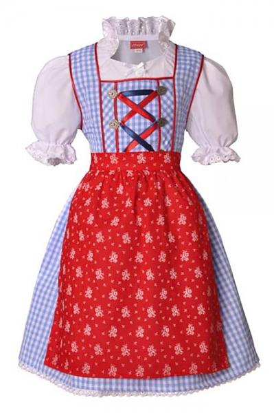 Kinderdirndl Mina hellblau/rot 3-tlg. Trachtenset