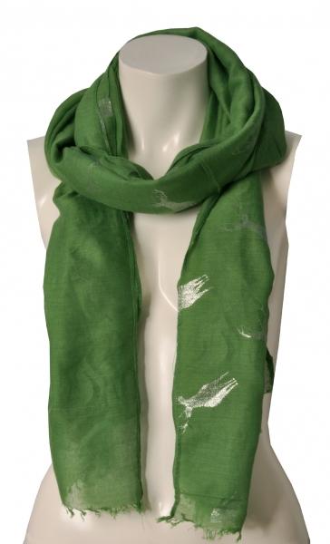 Trachtenschal grün Glitzerhirsch Wolkenweis