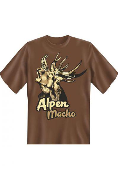 Trachtenshirt Alpenmacho braun T-Shirt