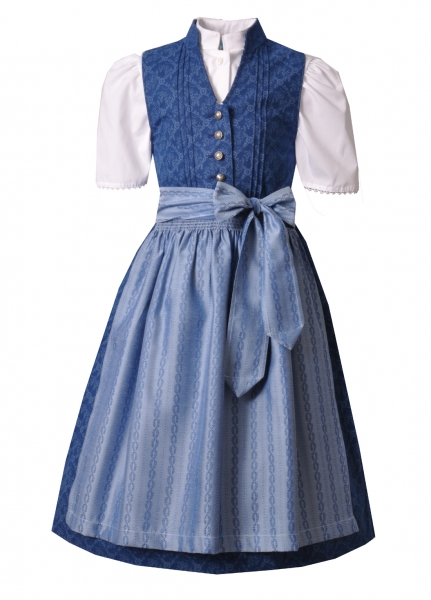 Kinderdirndl Jugenddirndl Veronika blau dunkelblau/hellblau Set 3-tlg. Turi