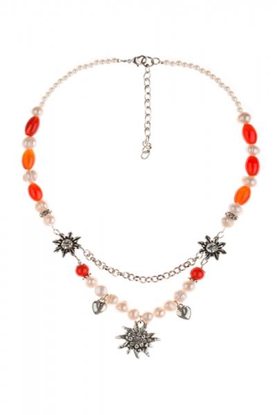 Dirndlkette Heretsried Edelweiß orange Perlen