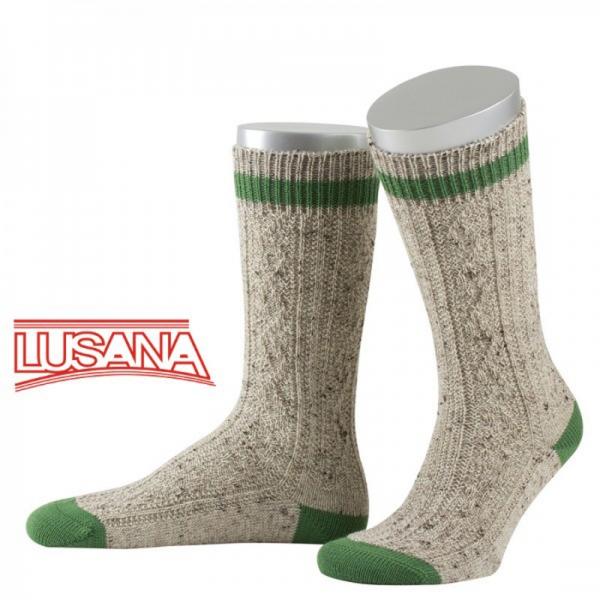 Schopper Trachtensocken Engelsberg Loden-Tweed beigemeliert/smaragdgrün Lusana