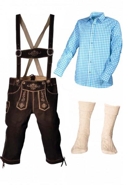 Trachtenlederhosen-Set 4-tlg. Kniebund dunkelbraun mit türkisem Hemd von Fuchs